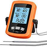 "COMSOON Meat Thermometer Digital, Dual 3.9"" Long Probes Instant Read Food Thermometer with Clock Timer & LCD Backlight, Cooking Grill Thermometer for Kitchen Smoker Oven BBQ Grilling Baking Candy"