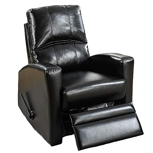 Poundex F1533 Poundex F1533 sillón reclinable giratorio color negro tapizado en bonded leather, color negro,, pack of/paquete de 1