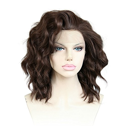 Cbwigs Brown Short Wavy Synthetic Lace Front Wigs for Women Heat Resistant 10 inch