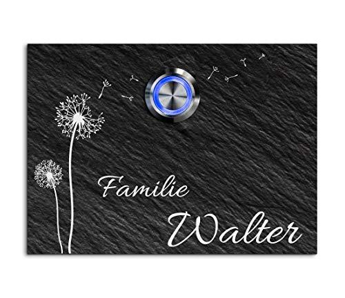 Schiefer Türklingel mit Gravur und LED-Klingelknopf und über 100 Motive | Modell: Walter-sch | 11x8 cm Klingel-Taster Klingelschild Klingelplatte Namensschild beschriftet