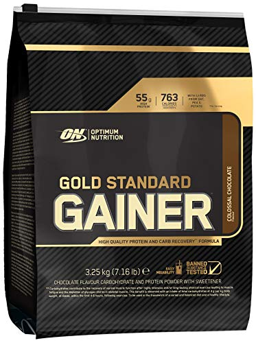 Optimum Nutrition ON Gold Standard Gainer, Mass Gainer Protein Powder for Muscle Gain and Recovery, Colossal Chocolate, 3.25 kg, 16 Servings