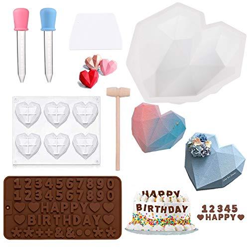 Molde de silicona para tartas con forma de corazón, molde de silicona reutilizable para hornear, molde de silicona alfanumérico, molde de silicona para pastel.
