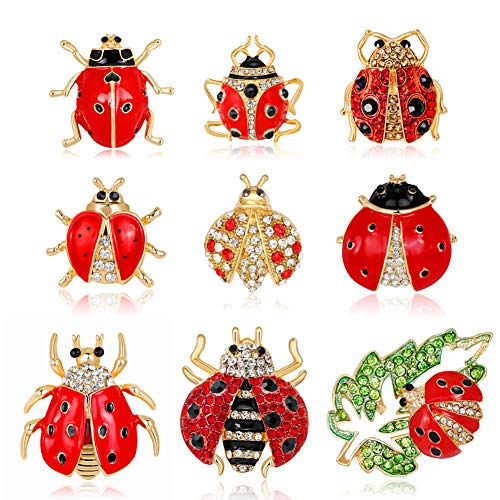 Apol Set of 9 Lovely Little Ladybug Brooch Women's Crystal Rhinestone Brooch Pins Party Gift Jewelry Accessories