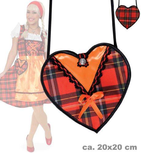 Carnival 45688 Dirndl red check heart design New in Original Box