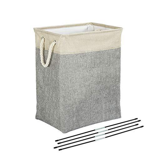 Meerveil Wäschekorb, Zusammenklappbarer Wäschebox, Wäschesammler mit Griff, Für Kleidung und Spielzeug, Grau
