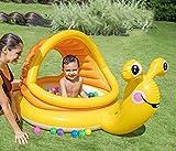 WOkismx Mini Piscina para Bebés Caracol Portátil Bote Inflable Sombrilla Redonda Piscina para Bebés Bañera Drenaje Flotante Paraíso para Niño Nadar Natación