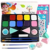 Bowitzki Face Paint Kit with 10 Colors,32 Stencils,2 Brushes,2 Chunky Glitters,2 Sponges,1 Body Glue,Water Based Easy to Remove Face Painting for Kids, Safe Professional Halloween Party Makeup Set