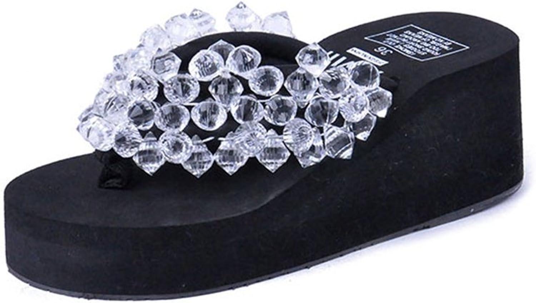 U-MAC Womens Flip Flops Thongs Wedge Sandals Transparent Rhinestone Non-Slip Summer Beach Slippers