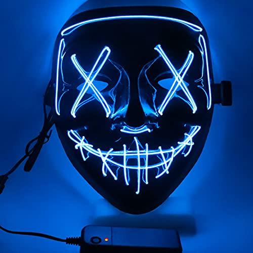 Ptsaying Maschera di Halloween, Maschera di spurgo a LED, Maschera di Halloween Spaventosa Maschera di Halloween per Adulti, Uomini e Donne. (Blu)