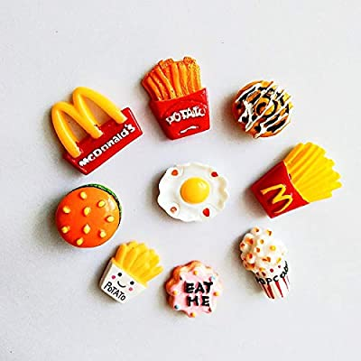 Frites Hamburger Magnet Magnet Accueil Décoration Popcorn Sticker magnétique Sticker Message Message Sticker (Color : 9 pcs for a set)