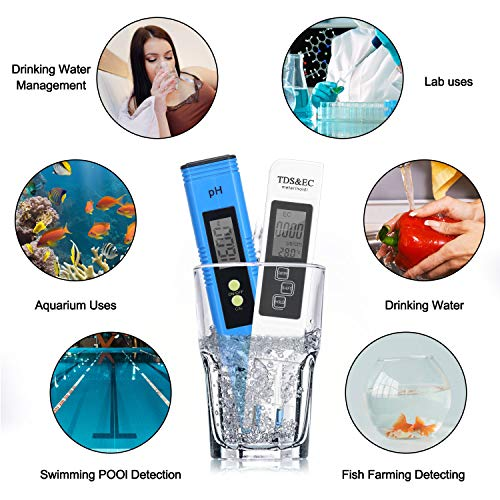 Homtiky Digital pH Meter TDS EC Meter 2 in 1 Set Kit Drinking Water 0-9999ppm Automatic Calibration for Pool Fish Pond Water Quality Tester Temperature with 0-14 pH Measure Range