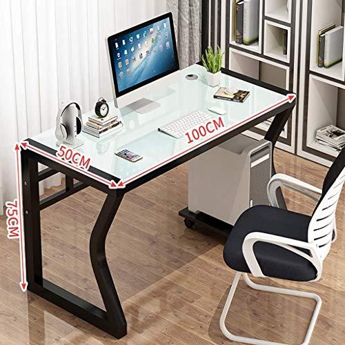 Escritorio de computadora Mesa de escritorio de computadora, hogar simple y moderno, económico, escritorio de estudio de oficina, escritorio de computadora de vidrio templado simple, escritorio de co