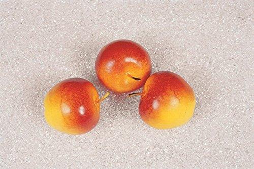 ERRO 3er Set gelb-rote Apfel Attrappen - 01062, Obstattrappe als Requisite Äpfel aus Kunststoff, Lebensmittelattrappen zur Deko, Sommerdeko, Obst Nachbildung, Hohlattrappe, Gastronomiebedarf