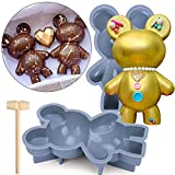 Bear Chocolate Silicone Mold, 2 Pcs Large 3D Breakable...