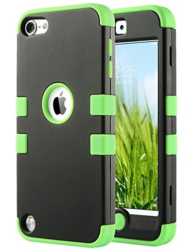 ULAK iPod Touch 7 Case, iPod Touch 6 Case, Heavy Duty High Impact Rugged Shockproof Cover Anti-Scratch Protective Case for Apple iPod Touch 5/6/7th Generation, Green