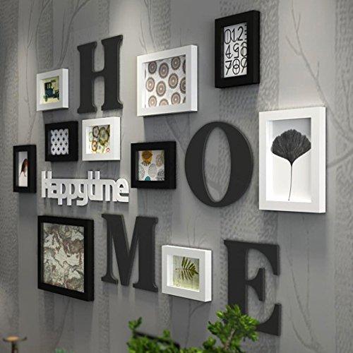 NYDZDM 10pcs Photo Mur Noir Et Blanc Cadre Photo Mur Galerie Kit Kit Cadres Ensemble De Collage, Restaurant Créatif Salon Photo Mur Noir