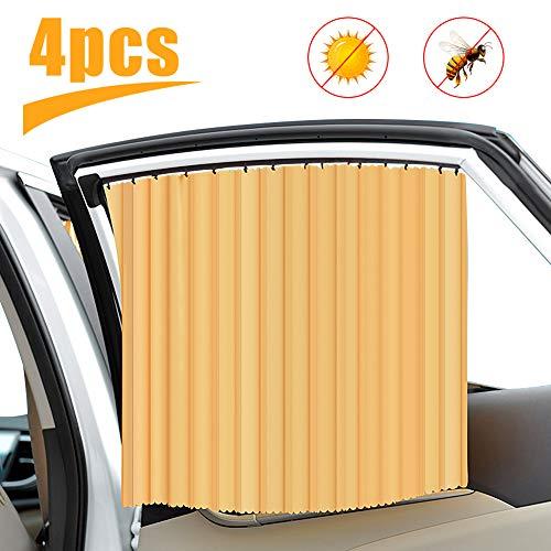 Sonnenschutz Auto mit Vorhang- Sonnenschutz Magnetisch für Baby UV-Schutz Hitzeschutz & zum Abdunkeln - XXL 70 x 45 cm - auch für große Seitenscheiben - Universal Type(Golden)