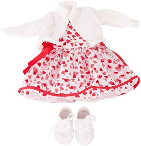 Götz 3403033 Kombination Herzlich - Puppenbekleidung Gr. XL - 4-teiliges Bekleidungs- und Zubehörset für Stehpuppen 45 - 50 cm