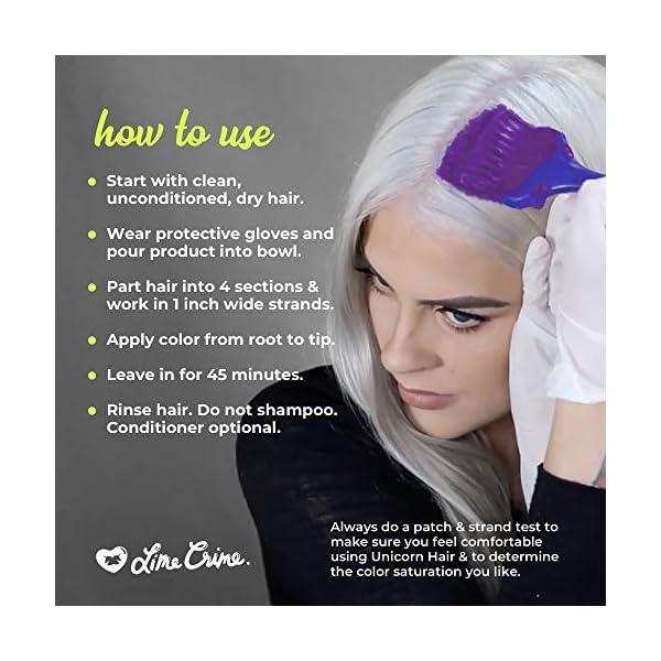 Lime Crime Unicorn Hair Dye, Pony - Electric Violet Purple Hair Color - Full Coverage, Ultra-Conditioning, Semi-Permanent, Damage-Free Formula - Vegan - 6.76 fl oz 7