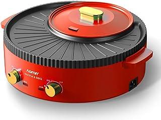 Barbacoa Olla caliente Olla doble Olla de cocción incorporada Olla eléctrica Barbacoa eléctrica Máquina de moldeo para hornear eléctrica Máquina de sartén estofada multifunción,Rojo,42cm