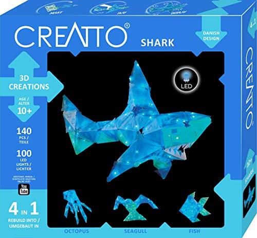 Kosmos CREATTO Hai, 3D-Leuchtfiguren entwerfen, 3D-Puzzle-Set für Hai, Tintenfisch, Möwe oder Fisch, gestalte kreative Zimmer-Deko, 140 Steckteile, 100-tlg LED-Lichterkette, für Kinder & Erwachsene