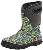 Bogs Women's Classic Mid Rain Boot, Dark Gray Multi, 9