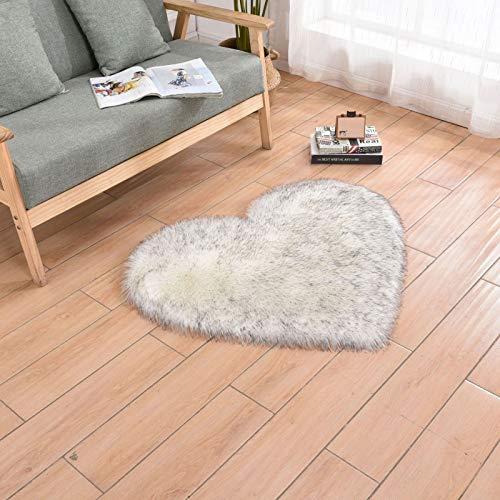 Alfombra de piel de oveja de lana artificial suave en forma de corazón de felpa de maíz amarillo, cojín duradero portátil, sala de estar, dormitorio