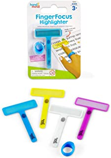 hand2mind 91244 FingerFocus Highlighters Individual Pack, Guided Reading Strips, Reading Tool for Kids & Dyslexia, Ages 3+ (1 Removable Ring & 4 Wands)
