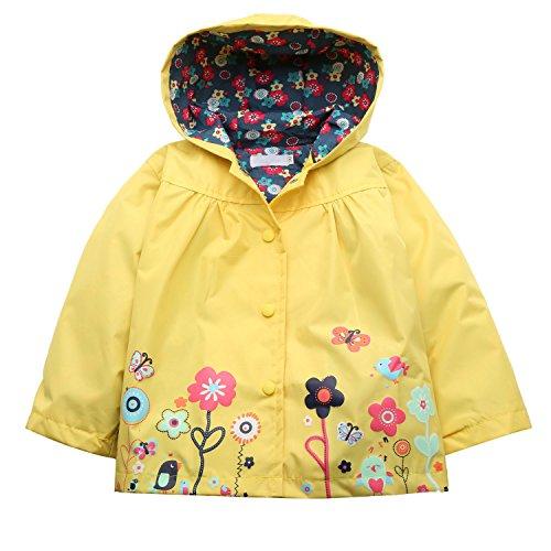trudge Mädchen Regenjacke Trenchcoat Outdoorjacke für Kinder Winddicht Regenfest Mit Kapuze Doppelschicht Blumenmuster 90-140CM
