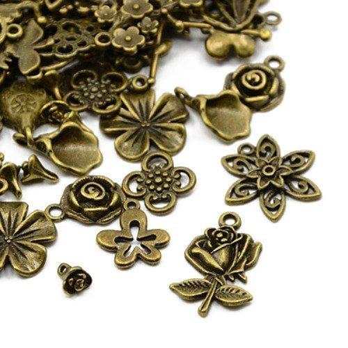 30 Gramm Antik Bronze Tibetanische ZufälligeMischung Charms (Blume) - (HA07360) - Charming Beads