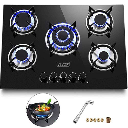 Happybuy 30x20 inches Built in Gas Cooktop 5 Burners Gas Stove Cooktop Tempered Glass Cooktop Gas Hob With Liquid Propane Conversion Kit Thermocouple Protection and Easy To Clean