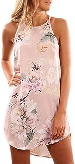 Fronage Women's Casual Sleeveless Floral Mini Dress Summer Beach Halter Neck Dresses