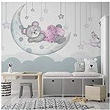 Dibujos animados sueño luna brote estrella oso niño habitación fondo pared mural personalizado grande nórdico minimalista