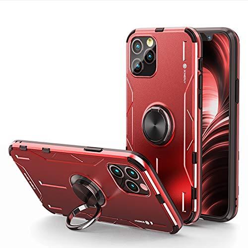 Jonwelsy Funda para iPhone 12 Mini (5,4 Pulgada), Shockproof Flexible Silicona Carcasa + Aleación de Aluminio Cover con Rotación de 360 Grados Anillo iman Kickstand para iPhone 12 Mini (Rojo)