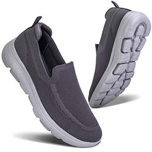 konhill Zapatillas Casual para Hombre Sin Cordones Calzado de Walking Deportivo Bajas de Ligerasy Transpirables Zapatos de Tenis EU 42 Gris Oscuro/Gris