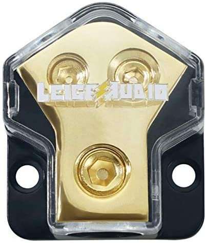 LEIGESAUDIO 0/2/4 Gauge in 4/8 Gauge Out 2 Way Amp Copper Power Distribution Block for Car Audio Splitter (1PACK)