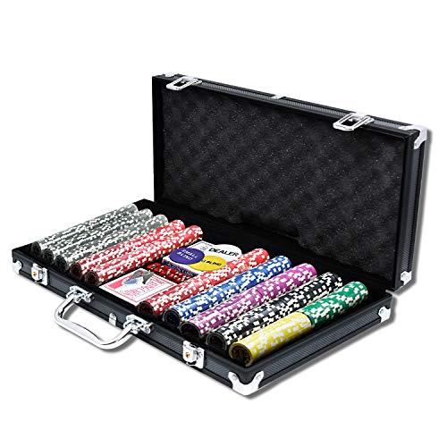 AufuN Pokerset mit 500 hochwertigen Chips Laser Pokerchips Poker inkl. 2X Pokerdecks, 5X Würfel, 1x Dealer Button, 2 Schlüssel, Aluminium-Gehäuse - Schwarz