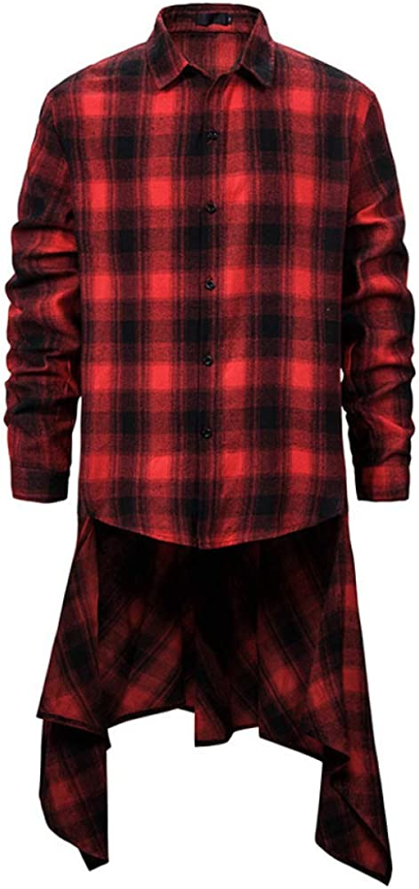 Spring and Autumn Men's Casual Tops Classic Mid-Length Plaid Shirt Loose Front