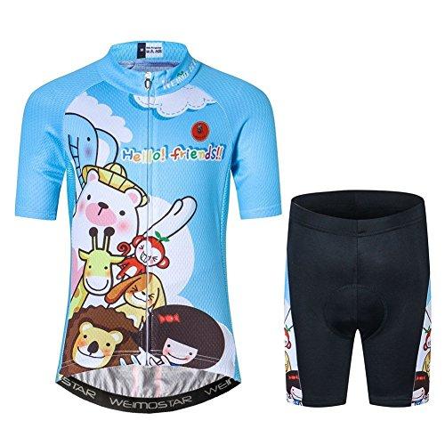 Fietsen Jersey Kinderen, Korte Mouw Cartoon Road Mountainbike Jersey Set/Top/Korte voor Meisjes Jongens Ademend