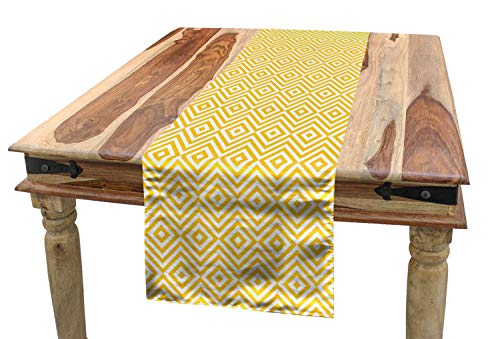 ABAKUHAUS Geel Tafelloper, Zig Zag, Eetkamer Keuken Rechthoekige Loper, 40 x 225 cm, Marigold White