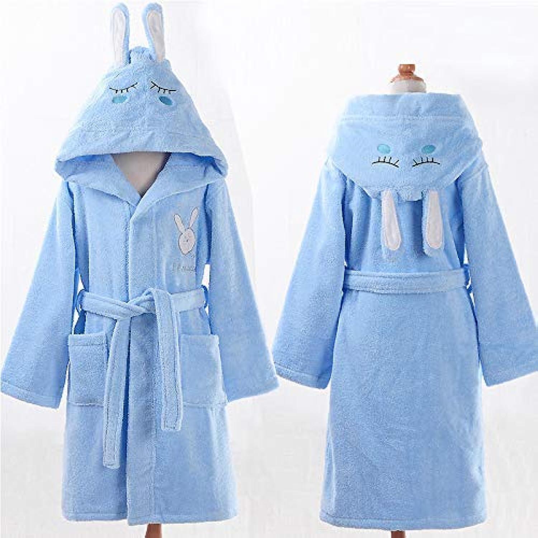 HSDDA Kinder-Bademantel aus Baumwolle für Kinder und Herren mit Kapuze, für Mädchen und Herren, Blau, blau, 8A120130cm B07MQD28DK