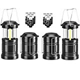 4 Pack Portable LED Camping Lantern, Mini LED Lantern Collapsible Outdoor Lantern with Batteries, Small Lantern Suitable for Kids Emergency Light Lantern for Power Outage, Hurriance