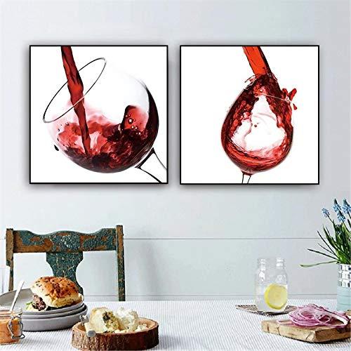 Cartel de vino Cocina Bar Comedor Decoración Lienzo Pintura Arte de la pared Copas de vino Impresiones Decoración moderna del hogar Imágenes Mural 70x70cm (28x28in) x2 Marco interior