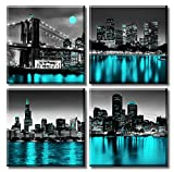 Wall Decorations Chicago Boston Los Angeles Brooklyn Bridge Skyline Canvas Art Black White USA New York City Pictures Teal Turquoise Lake Water Building Cityscape Framed Poster Home Living Room Office
