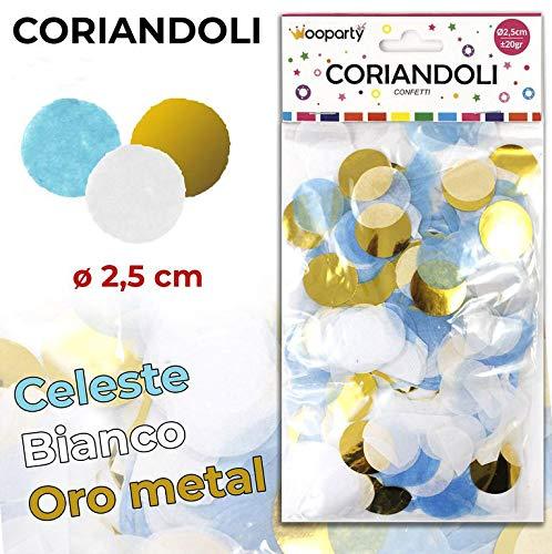 Takestop® Confetti rond voor luchtballonnen baby shower 40 g 2,5 cm decoratie wit goud doos perfect gastgeschenk party geboorte meisjes jongens Hemelsblauw.