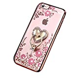 iPhone 7 Plus Case,iPhone 7 Plus Cover, Surakey Clear Case Secret <span class='highlight'>Garden</span> Soft TPU Cover Plating Bumper Bling Glitter Transparent Butterfly Shell Protective Skin for iPhone 7 Plus Pink Flowers