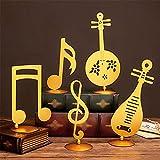 ZLBYB 5 unids/Set Personal de Hierro Forjado Adornos de Notas Musicales para el hogar gabinete de Vino Porche Piano Escritorio Metal Adornos para Instrumentos Musicales