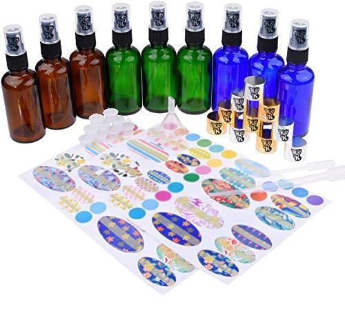 Essential Oil Bottle Kit: 9x Essential Oil Bottles (50 ml), 9x Fine Mist Sprayer, 9x Orifice Reducer Cap, 9x Sealing Cap, 1x Bottle Tool, 78x Label, 2x Mini Dropper and 1x Mini Funnel for Easy Filling