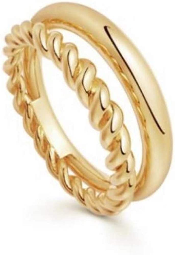 ailov Minimal Gold Double Band Ring for Women Polished Braised Stacking Band Boho 18k Gold-Plated Brass Jewelry