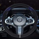 ステアリングカバー ハンドルカバー 軽自動車適用 通気性良い 滑り止め フィット 洋風 オールシーズン用 オシャレ Mサイズ 高品質 レザー (青)